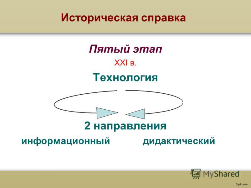 Историческая справка Пятый этап XXI в. Технология 2 направления информационный дидактический