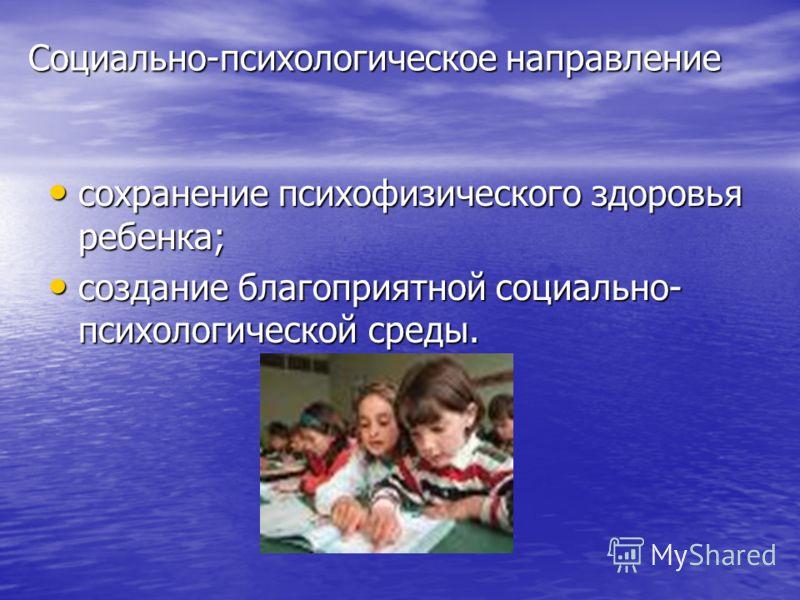 Социально-психологическое направление сохранение психофизического здоровья ребенка; сохранение психофизического здоровья ребенка; создание благоприятной социально- психологической среды. создание благоприятной социально- психологической среды.