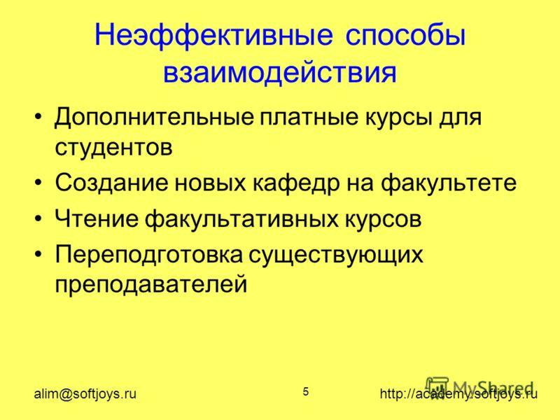 alim@softjoys.ru http://academy.softjoys.ru 5 Неэффективные способы взаимодействия Дополнительные платные курсы для студентов Создание новых кафедр на факультете Чтение факультативных курсов Переподготовка существующих преподавателей
