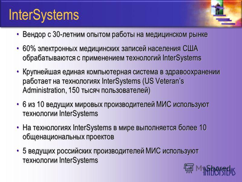 InterSystems Вендор с 30-летним опытом работы на медицинском рынкеВендор с 30-летним опытом работы на медицинском рынке 60% электронных медицинских записей населения США обрабатываются с применением технологий InterSystems60% электронных медицинских
