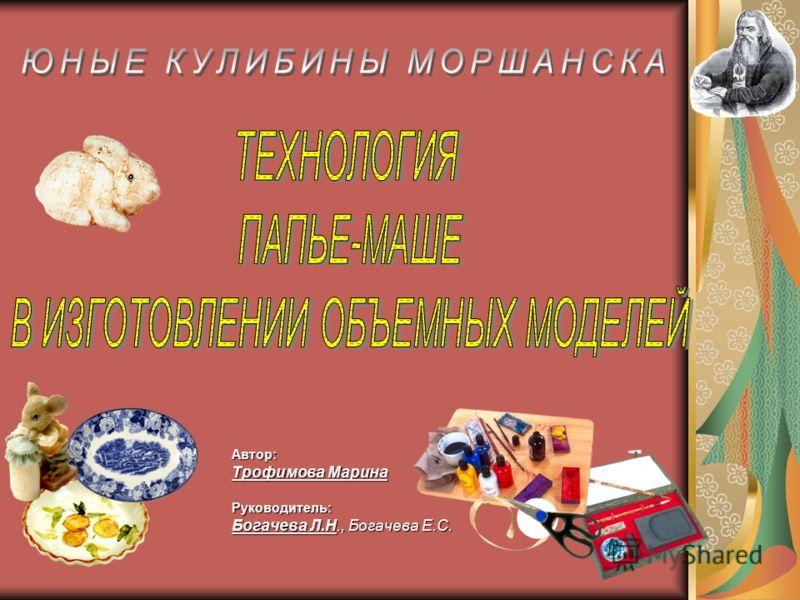 Автор: Трофимова Марина Руководитель: Богачева Л.Н., Богачева Е.С.