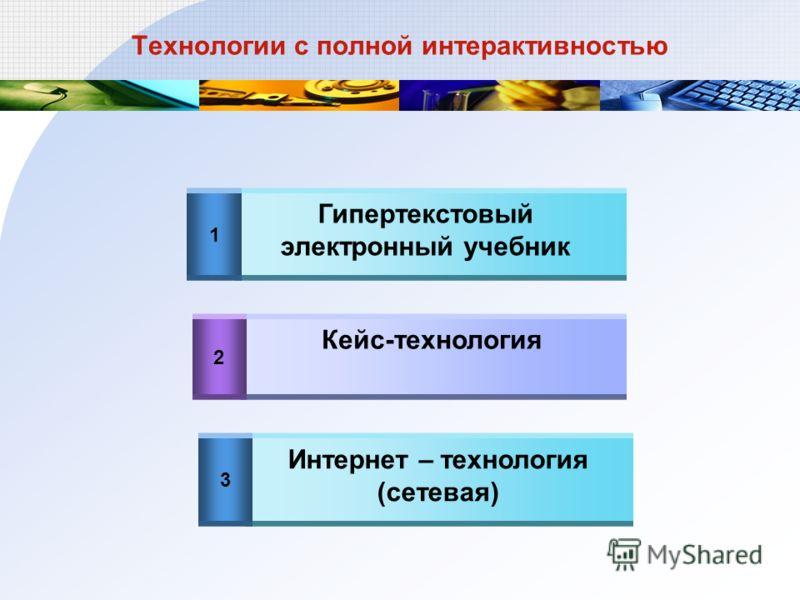 Технологии с полной интерактивностью 1 2 3 Гипертекстовый электронный учебник Кейс-технология Интернет – технология (сетевая)