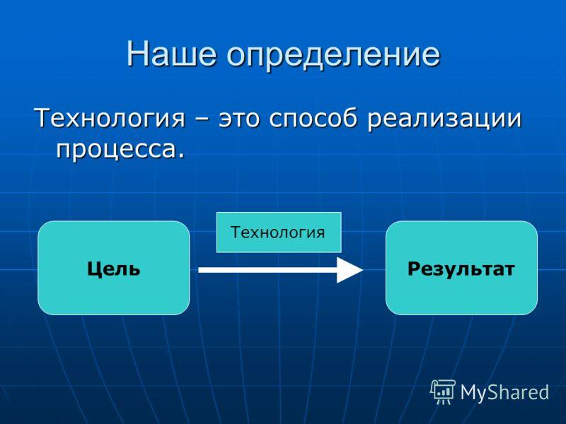 Наше определение Технология – это способ реализации процесса. ЦельРезультат Технология