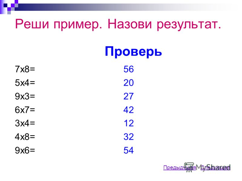 Реши пример. Назови результат. Проверь 7х8= 5х4= 9х3= 6х7= 3х4= 4х8= 9х6= 56 20 27 42 12 32 54 ПредыдущаяПредыдущая СледующаяСледующая