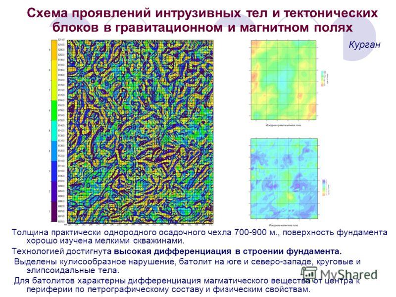 Схема проявлений интрузивных тел и тектонических блоков в гравитационном и магнитном полях Толщина практически однородного осадочного чехла 700-900 м., поверхность фундамента хорошо изучена мелкими скважинами. Технологией достигнута высокая дифференц