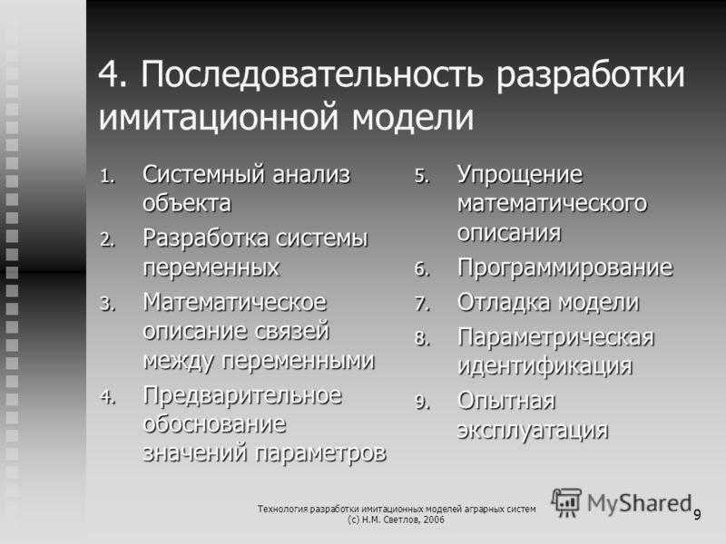 Технология разработки имитационных моделей аграрных систем (с) Н.М. Светлов, 2006 9 4. Последовательность разработки имитационной модели 1. Системный анализ объекта 2. Разработка системы переменных 3. Математическое описание связей между переменными
