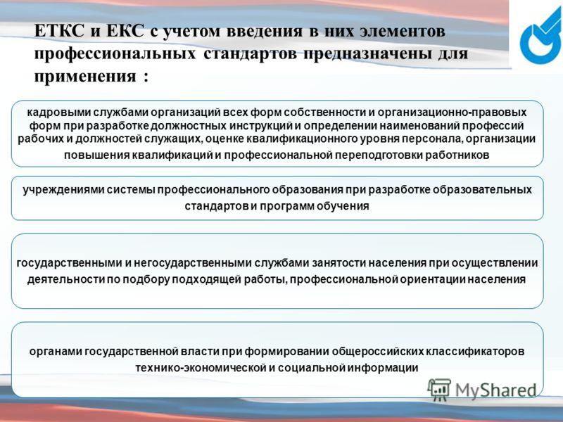 ЕТКС и ЕКС с учетом введения в них элементов профессиональных стандартов предназначены для применения : кадровыми службами организаций всех форм собственности и организационно-правовых форм при разработке должностных инструкций и определении наименов