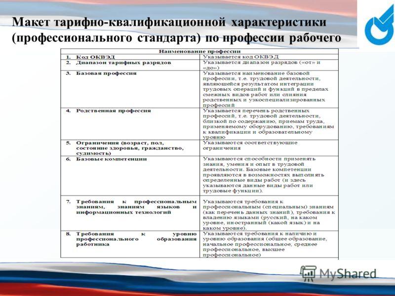 Макет тарифно-квалификационной характеристики (профессионального стандарта) по профессии рабочего
