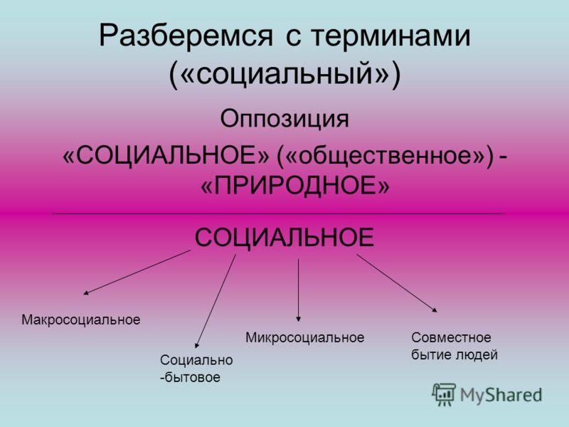 Разберемся с терминами («социальный») Оппозиция «СОЦИАЛЬНОЕ» («общественное») - «ПРИРОДНОЕ» СОЦИАЛЬНОЕ Макросоциальное Социально -бытовое МикросоциальноеСовместное бытие людей