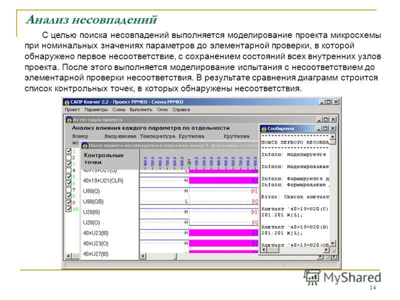14 Анализ несовпадений С целью поиска несовпадений выполняется моделирование проекта микросхемы при номинальных значениях параметров до элементарной проверки, в которой обнаружено первое несоответствие, с сохранением состояний всех внутренних узлов п