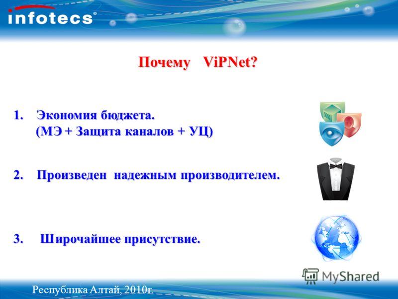 Почему ViPNet? 1. Экономия бюджета. (МЭ + Защита каналов + УЦ) 2. Произведен надежным производителем. 3. Широчайшее присутствие. Республика Алтай, 2010г.