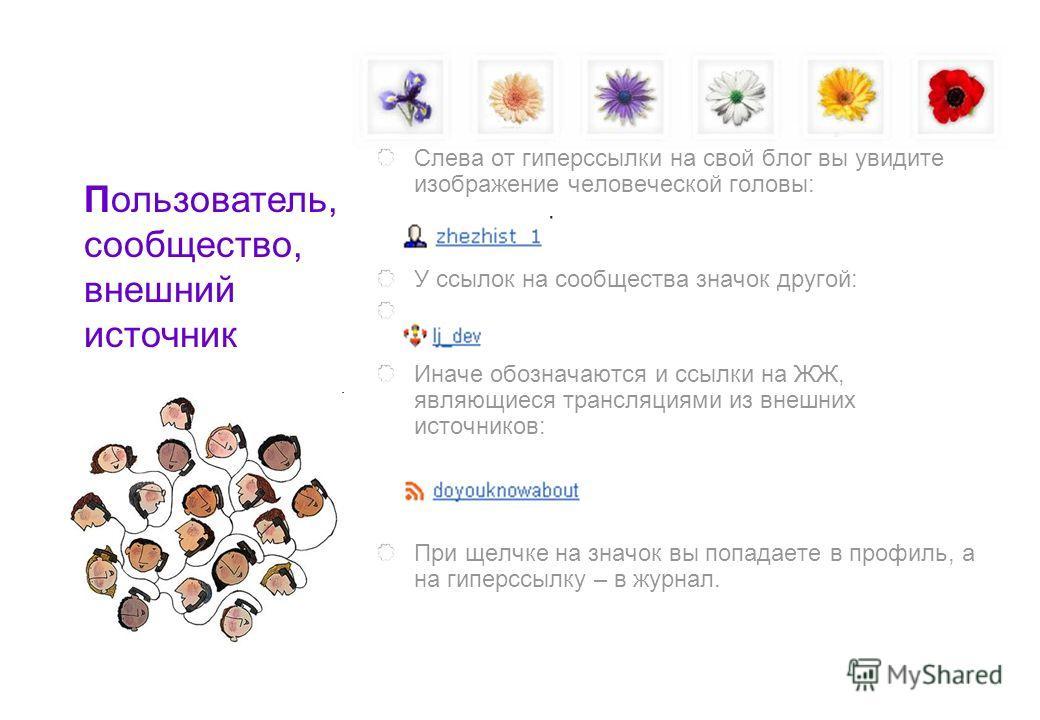 Слева от гиперссылки на свой блог вы увидите изображение человеческой головы: У ссылок на сообщества значок другой: Иначе обозначаются и ссылки на ЖЖ, являющиеся трансляциями из внешних источников: При щелчке на значок вы попадаете в профиль, а на ги