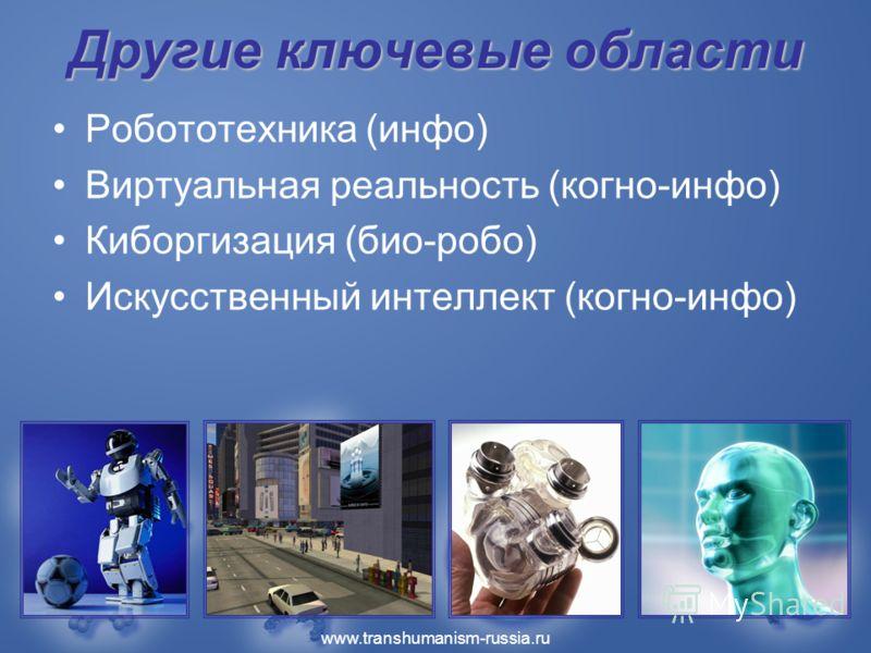 www.transhumanism-russia.ru Другие ключевые области Робототехника (инфо) Виртуальная реальность (когно-инфо) Киборгизация (био-робо) Искусственный интеллект (когно-инфо)