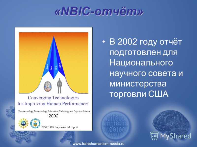 www.transhumanism-russia.ru «NBIC-отчёт» В 2002 году отчёт подготовлен для Национального научного совета и министерства торговли США Converging Technologies for Improving Human Performance: Nanotechnology, Biotechnology, Information Technology and Co