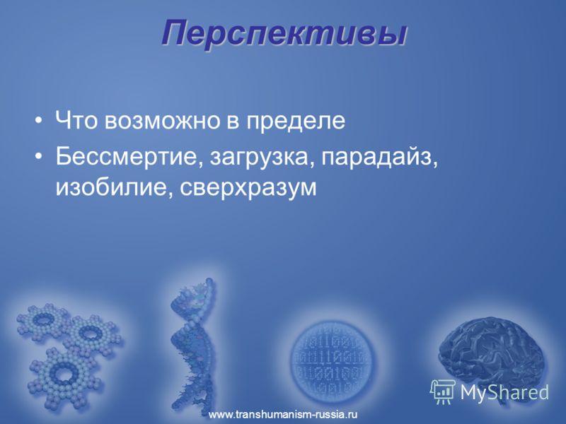 www.transhumanism-russia.ru Перспективы Что возможно в пределе Бессмертие, загрузка, парадайз, изобилие, сверхразум