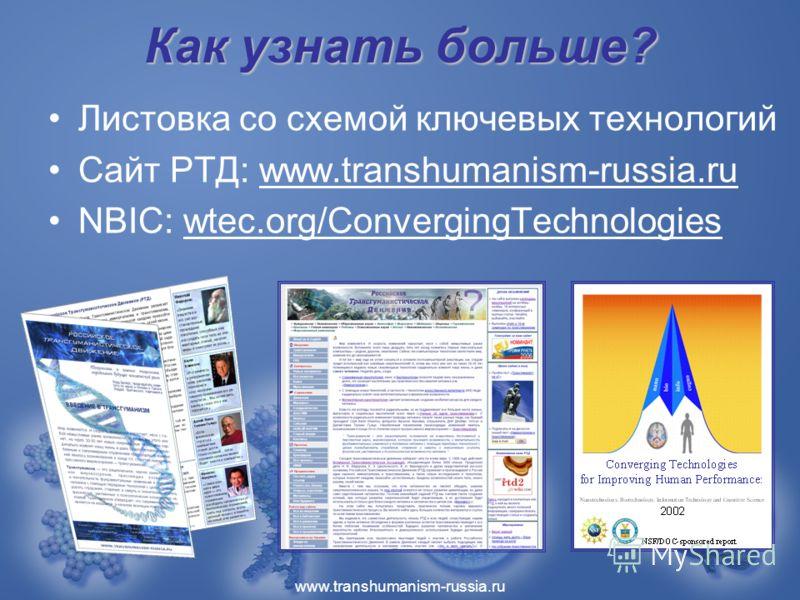 www.transhumanism-russia.ru Как узнать больше? Листовка со схемой ключевых технологий Сайт РТД: www.transhumanism-russia.ru NBIC: wtec.org/ConvergingTechnologies