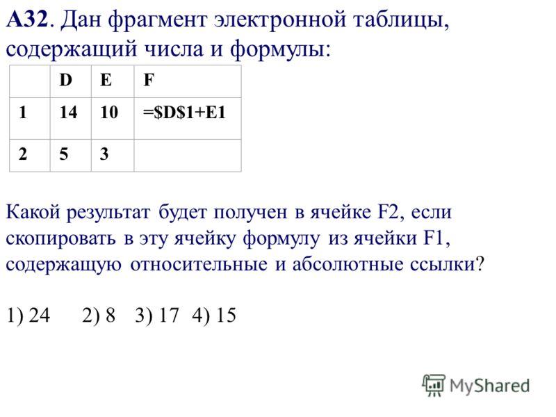 A32. Дан фрагмент электронной таблицы, содержащий числа и формулы: DЕF 11410=$D$1+E1 253 Какой результат будет получен в ячейке F2, если скопировать в эту ячейку формулу из ячейки F1, содержащую относительные и абсолютные ссылки? 1) 242) 83) 174) 15