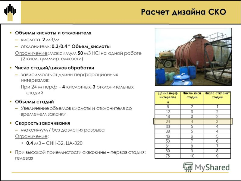 Расчет дизайна СКО Объемы кислоты и отклонителя – кислота: 2 м3/м – отклонитель: 0.3 / 0.4 * Объем_кислоты Ограничение: максимум 50 м3 НСl на одной работе (2 кисл. гуммир. емкости) Число стадий/циклов обработки – зависимость от длины перфорационных и