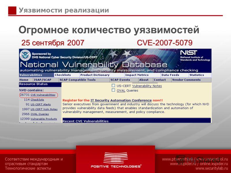 Соответствие международным и отраслевым стандартам Технологические аспекты www.ptsecurity.ru / www.maxpatrol.ru www.xspider.ru / online.xspider.ru www.securitylab.ru Уязвимости реализации Огромное количество уязвимостей 25 сентября 2007 CVE-2007-5079