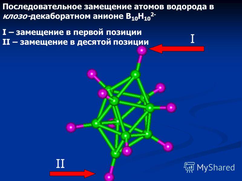 Последовательное замещение атомов водорода в клозо-декаборатном анионе B 10 H 10 2- I – замещение во второй позиции II – замещение в седьмой позиции II I