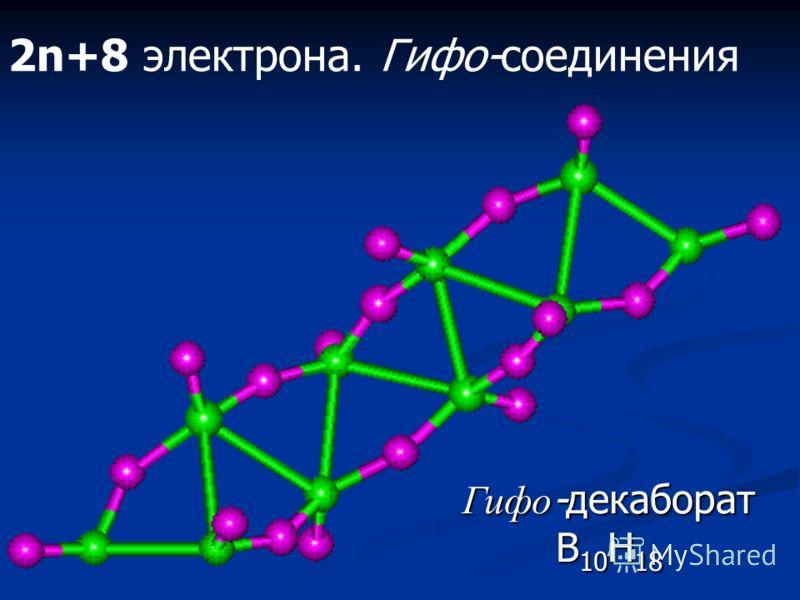2n+6 электрона. Арахно-соединения Арахно -декаборат B 10 H 16
