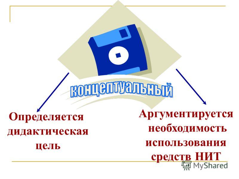 Определяется дидактическая цель Аргументируется необходимость использования средств НИТ