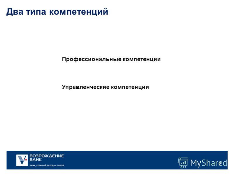 2 Профессиональные компетенции Два типа компетенций Управленческие компетенции