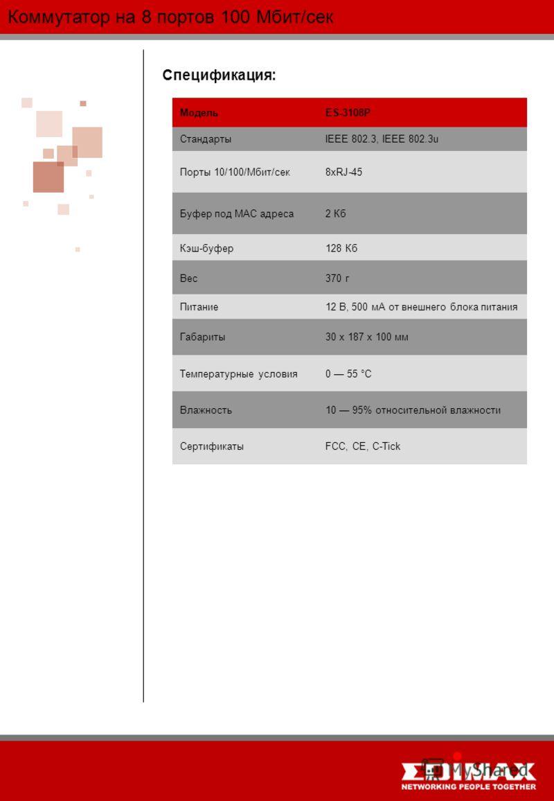 Коммутатор на 8 портов 100 Мбит/сек Спецификация: МодельES-3108P СтандартыIEEE 802.3, IEEE 802.3u Порты 10/100/Мбит/сек8хRJ-45 Буфер под MAC адреса2 Кб Кэш-буфер128 Кб Вес370 г Питание12 В, 500 мА от внешнего блока питания Габариты30 х 187 х 100 мм Т