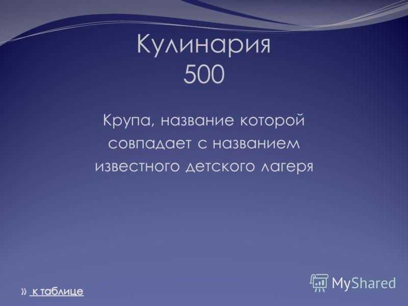 Кулинария 500 Крупа, название которой совпадает с названием известного детского лагеря