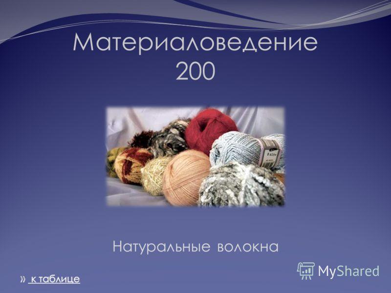Материаловедение 200 Натуральные волокна
