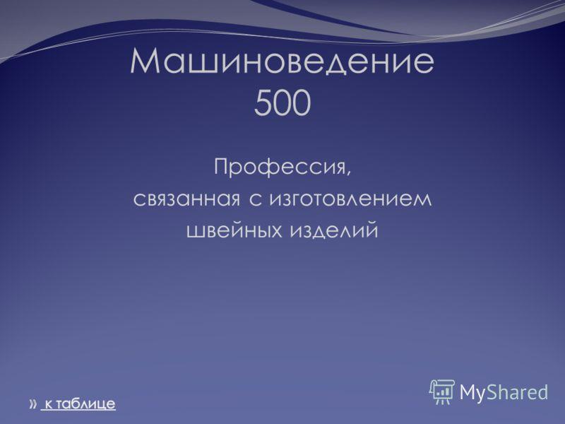 Машиноведение 500 Профессия, связанная с изготовлением швейных изделий