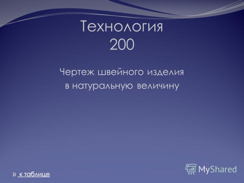 Технология 200 Чертеж швейного изделия в натуральную величину