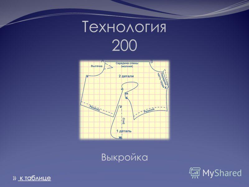 Технология 200 Выкройка