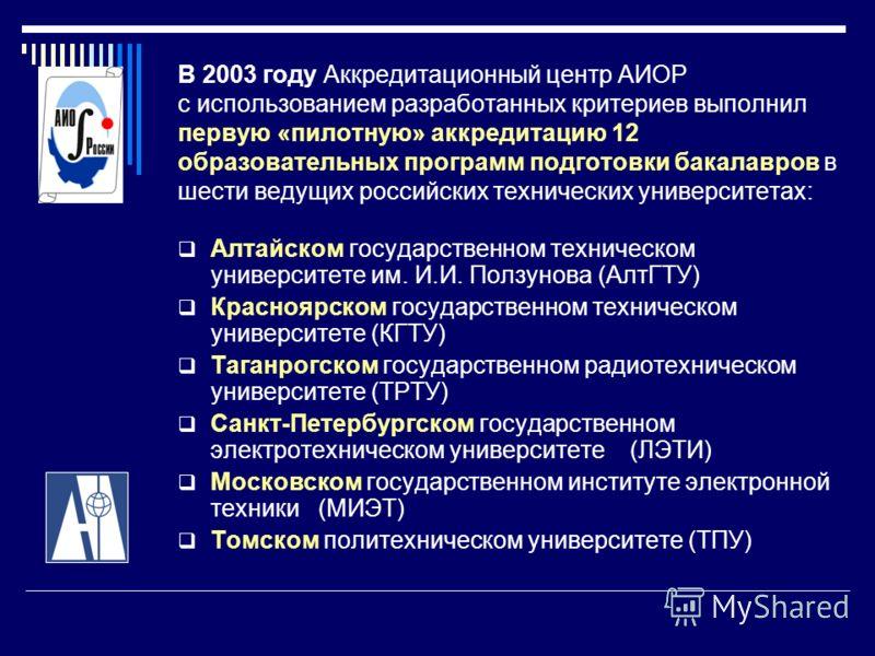 В 2003 году Аккредитационный центр АИОР с использованием разработанных критериев выполнил первую «пилотную» аккредитацию 12 образовательных программ подготовки бакалавров в шести ведущих российских технических университетах: Алтайском государственном