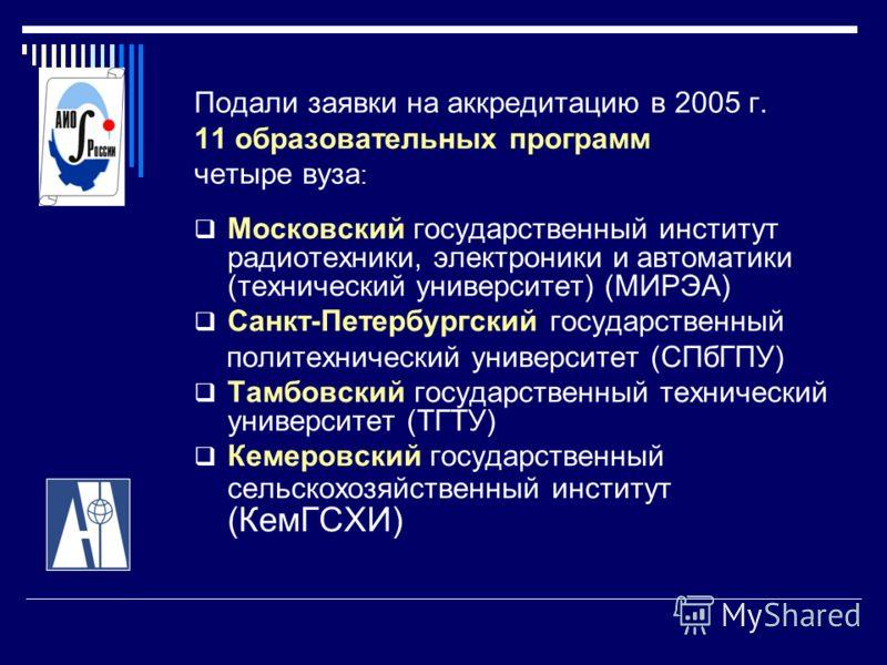 Подали заявки на аккредитацию в 2005 г. 11 образовательных программ четыре вуза : Московский государственный институт радиотехники, электроники и автоматики (технический университет) (МИРЭА) Санкт-Петербургский государственный политехнический универс