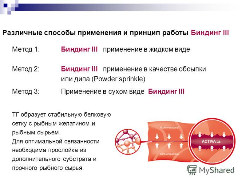 Различные способы применения и принцип работы Биндинг III Meтод 1:Биндинг III применение в жидком виде Метод 2:Биндинг III применение в качестве обсыпки или дипа (Powder sprinkle) Метод 3:Применение в сухом виде Биндинг III TГ образует стабильную бел