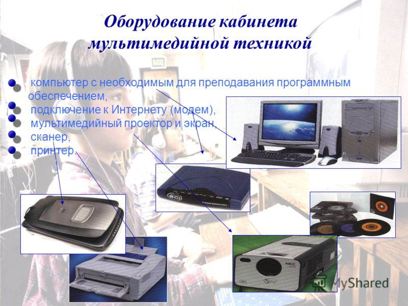 Оборудование кабинета мультимедийной техникой компьютер с необходимым для преподавания программным обеспечением, подключение к Интернету (модем), мультимедийный проектор и экран, сканер, принтер.