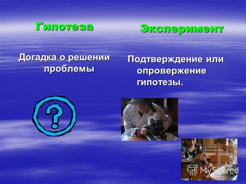Гипотеза Догадка о решении проблемы Эксперимент Подтверждение или опровержение гипотезы.