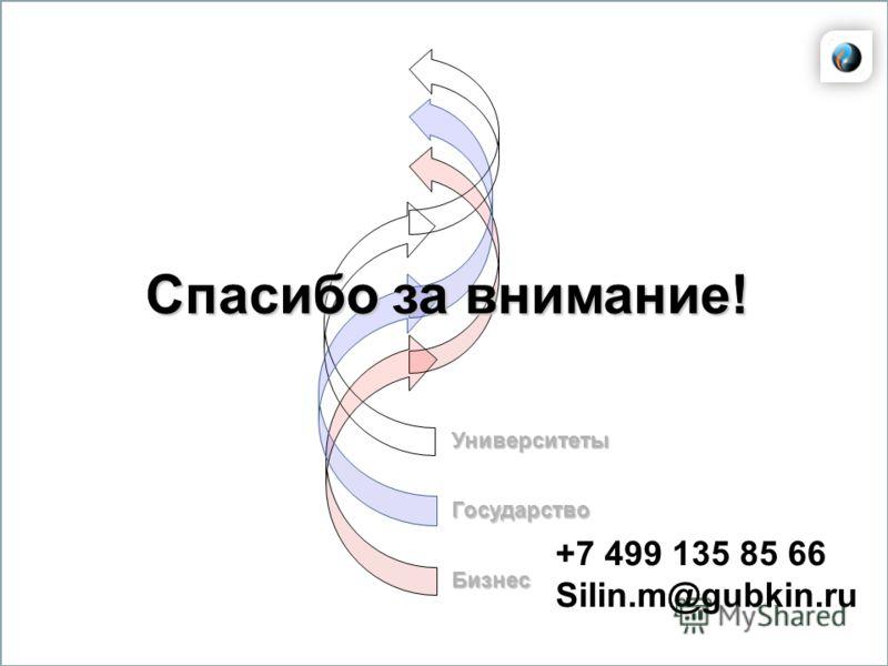 Университеты Государство Бизнес Спасибо за внимание! +7 499 135 85 66 Silin.m@gubkin.ru