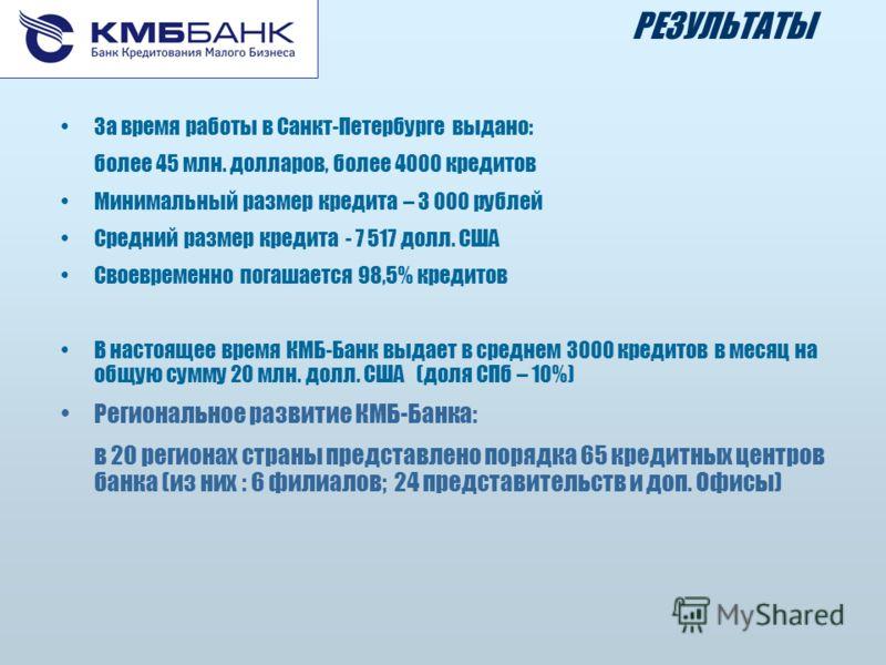 За время работы в Санкт-Петербурге выдано: более 45 млн. долларов, более 4000 кредитов Минимальный размер кредита – 3 000 рублей Средний размер кредита - 7 517 долл. США Своевременно погашается 98,5% кредитов В настоящее время КМБ-Банк выдает в средн