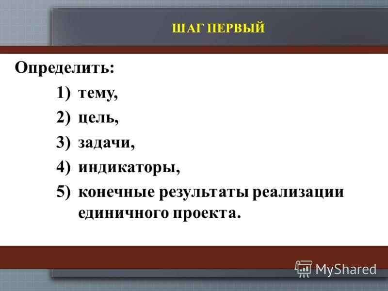 ШАГ ПЕРВЫЙ Определить: 1)тему, 2)цель, 3)задачи, 4)индикаторы, 5)конечные результаты реализации единичного проекта.