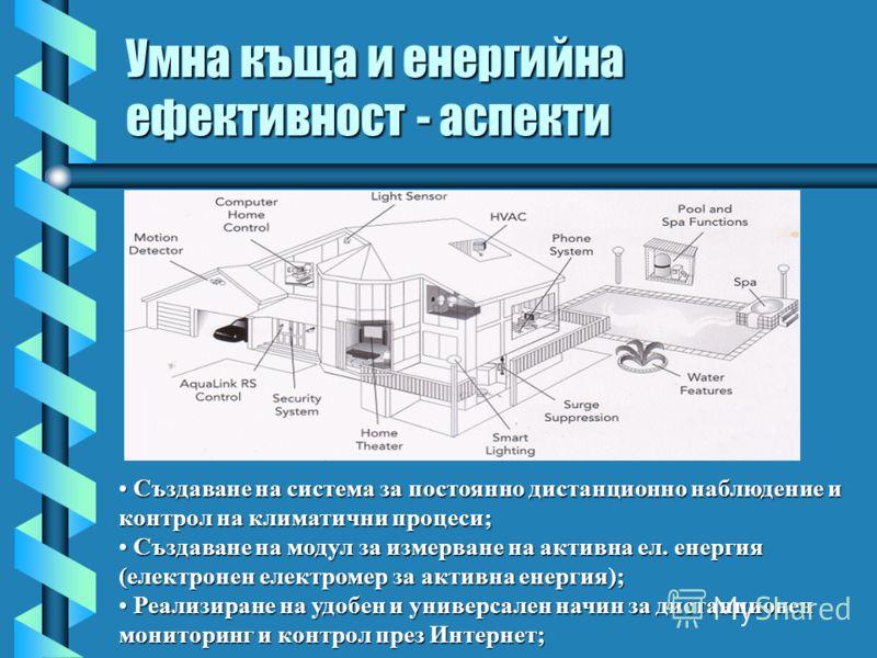 Умна къща и енергийна ефективност - аспекти Създаване на система за постоянно дистанционно наблюдение и контрол на климатични процеси; Създаване на система за постоянно дистанционно наблюдение и контрол на климатични процеси; Създаване на модул за из
