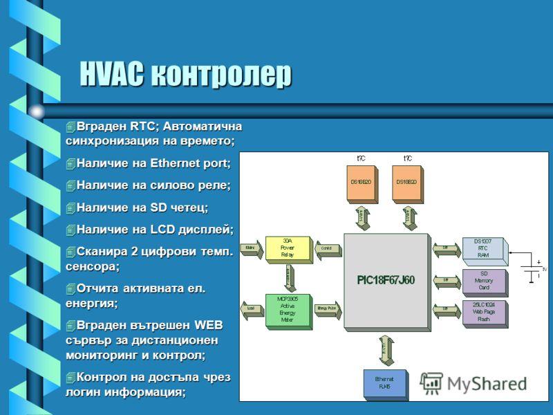 HVAC контролер Вграден RTC; Автоматична синхронизация на времето; Вграден RTC; Автоматична синхронизация на времето; Наличие на Ethernet port; Наличие на Ethernet port; Наличие на силово реле; Наличие на силово реле; Наличие на SD четец; Наличие на S