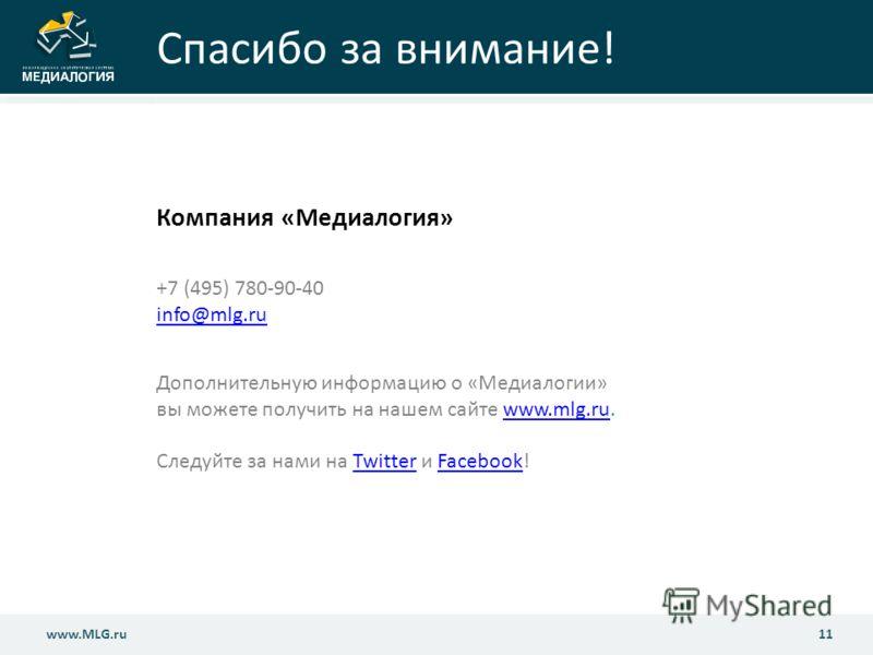 www.MLG.ru11 www.MLG.ru Спасибо за внимание! Компания «Медиалогия» +7 (495) 780-90-40 info@mlg.ru info@mlg.ru Дополнительную информацию о «Медиалогии» вы можете получить на нашем сайте www.mlg.ru.www.mlg.ru Следуйте за нами на Twitter и Facebook!Twit