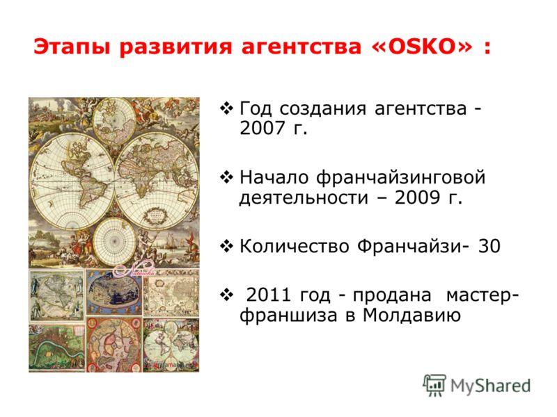 Этапы развития агентства «OSKO» : Год создания агентства - 2007 г. Начало франчайзинговой деятельности – 2009 г. Количество Франчайзи- 30 2011 год - продана мастер- франшиза в Молдавию