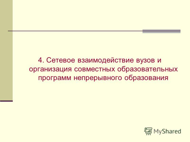 4. Сетевое взаимодействие вузов и организация совместных образовательных программ непрерывного образования