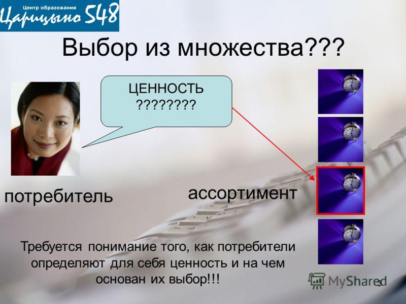 3 Выбор из множества??? ЦЕННОСТЬ ???????? потребитель Требуется понимание того, как потребители определяют для себя ценность и на чем основан их выбор!!! ассортимент