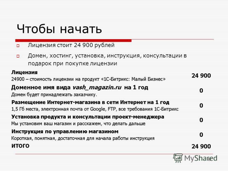 8 Чтобы начать Лицензия стоит 24 900 рублей Домен, хостинг, установка, инструкция, консультации в подарок при покупке лицензии