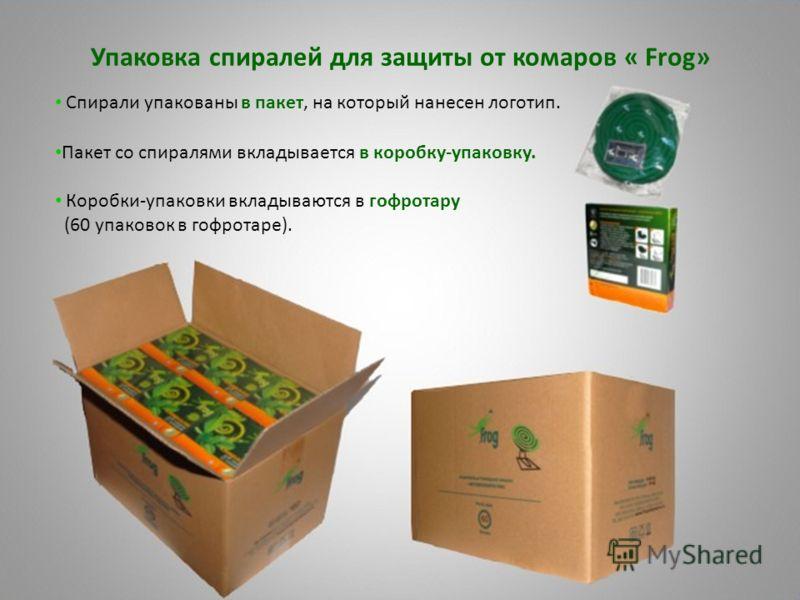 Упаковка спиралей для защиты от комаров « Frog» Спирали упакованы в пакет, на который нанесен логотип. Пакет со спиралями вкладывается в коробку-упаковку. Коробки-упаковки вкладываются в гофротару (60 упаковок в гофротаре).