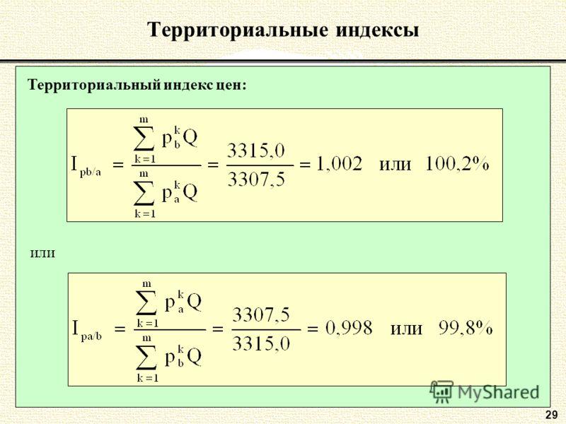 2929 Территориальные индексы Территориальный индекс цен: или